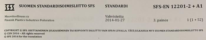 Standardin SFS EN 12201 2 etusivun yläosa